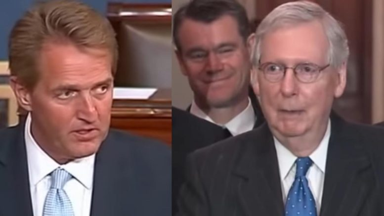 McConnell reacts to Bill to protect the Mueller probe. Photo credit to US4Trump compilation with screen shots.