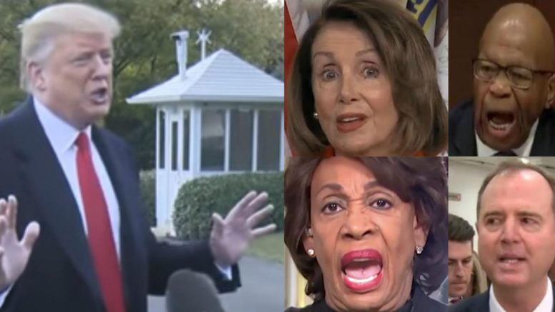 President Trump tweets about the Dem House with a warning shot. Photo credit to US4Trump compilation with screen shots.