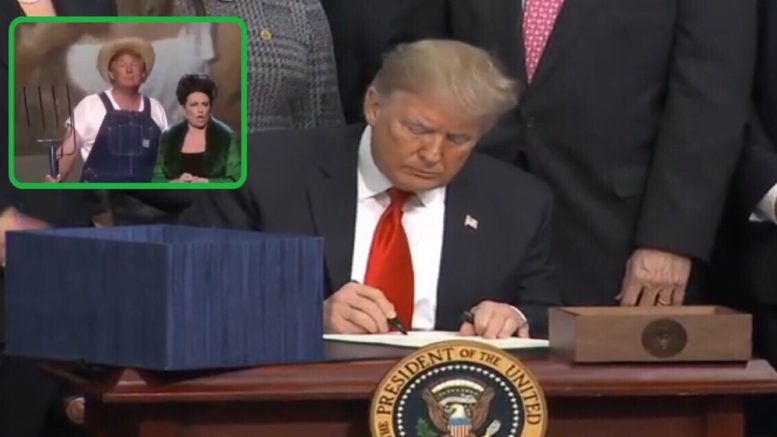 President Trump tweets hilarious 2005 Green Acres skit ahead of signing 2018 Farm Bill. Photo credit to US4Trump compilation with screenshots.