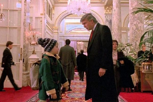 "Donald Trump and Mcauley Culkin in a cameo scene from ""Home Alone."" Photo credit to The Decider via screen shot."