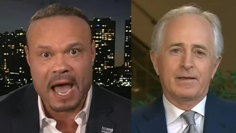 Dan Bongino strikes back at Bob Corker. Photo credit to US4Trump compilation with screen shots.
